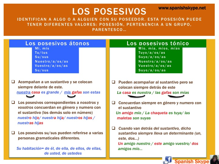 spanish skype lessons los posesivos en español mi tu su los