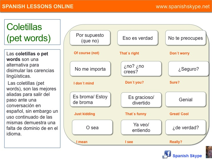 Coletillas (pet words)